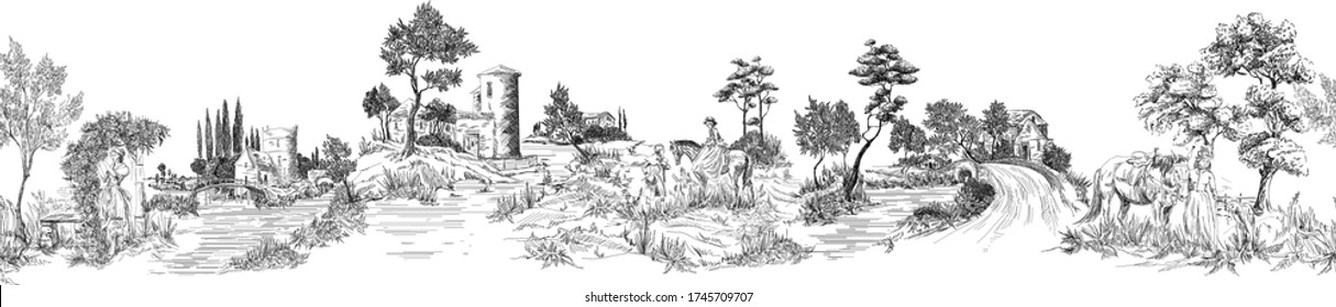 Pattern with horizontal mural with landscapes with old castles, country houses, people with horses, trees, bridges, panoramic view of old castles