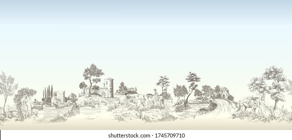 Pattern with horizontal mural with landscapes with old castles, country houses, people with horses, trees, bridges, panoramic view of old castles with blue sky