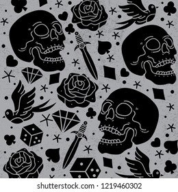 pattern horror tattoo vector, vector EPS 10