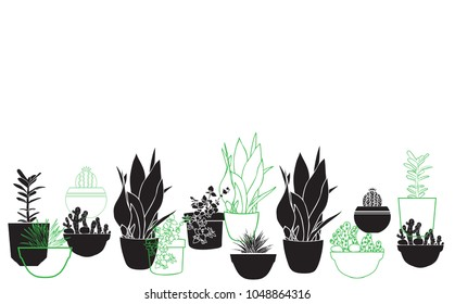 Pattern with house plants. Background with flowerpots. Vector illustration.