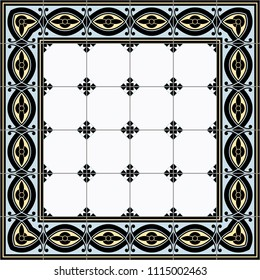 Pattern illustration of decorative tile panel in yellow, blue and black
