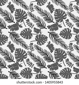 Pattern illustration of gray tropical leaf monstera and palm trees on a white background