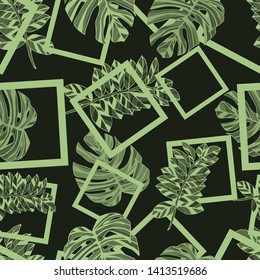 Pattern illustration of tropical monstera leaves and squares
