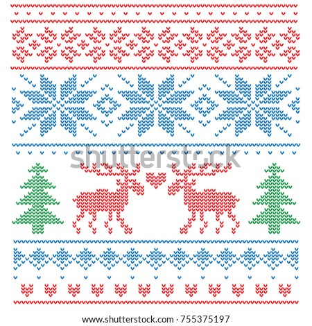 A pattern imitating a knitted sweater with colored threads. On the pattern are two deer, fir-trees and stylized snowflakes.