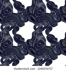 pattern with interlacing wavy elements, seamless vector pattern of lines on a white background