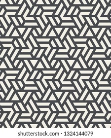 Pattern with intersecting straight stripes, polygons and stars. Abstract seamless vector background. Modern monochrome texture. Stylish lattice design.