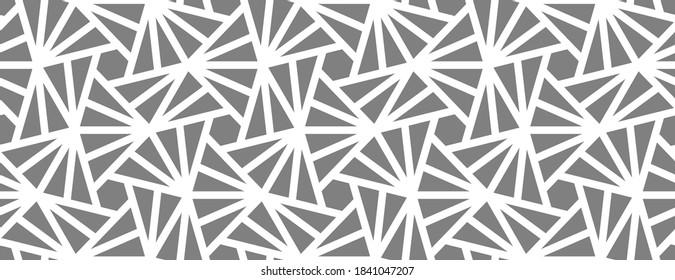 Muster mit kreuzenden weißen Streifen auf grauem Hintergrund. Abstraktes nahtloses Vektordesign für Textil, Gewebe und Verpackung. Moderne monochrome Textur mit stylisiertem l. Stilvolles Gitterdesign.