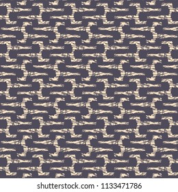 Pattern with intersections of thin lines  among meanders or sinuous stripes. Textile print. Decorative background like a puzzle in purple and ivory. Vector illustration.
