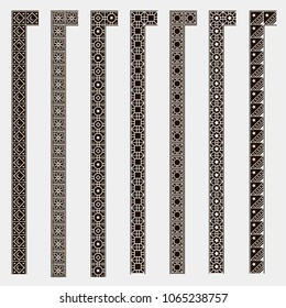 Pattern Islam. Border decoration elements patterns in black and white colors. Could be used as divider, frame, ???. Set  Seamless  islamic ornamental borders. Arabic and Islamic patterns.
