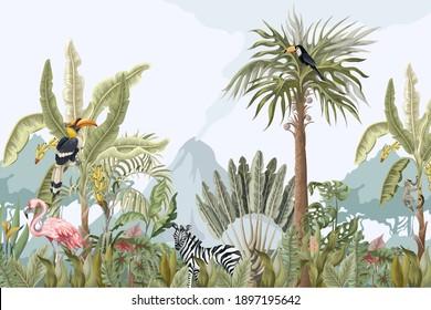 Motif d'animaux, de fleurs et d'arbres de la jungle. Image vectorielle