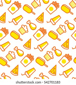 Pattern with junk food. Background with chicken, pizza, ice cream and muffin.