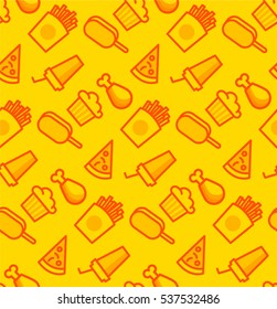 Pattern with junk food. Yellow background with chicken, pizza, ice cream and muffin.