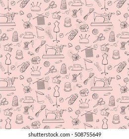 Pattern of knitting, sewing and needlework  icons on the pink background.