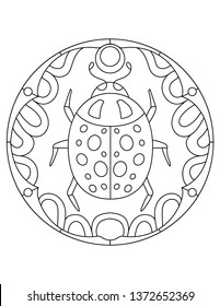 Pattern with ladybug. Illustration with beetle. Mandala with an animal. Ladybug in a circular frame. Coloring page for kids and adults.