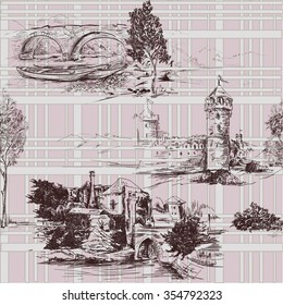 Pattern with landscape and castles with grid background seamless vector