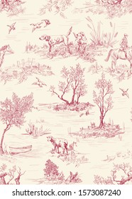 Pattern with landscape of countryside with dogs, trees, sheeps in toile de jouy style in red on beige color