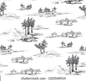 Pattern with landscape with hills and trees,oriental nature in toile de jouy style  on white background