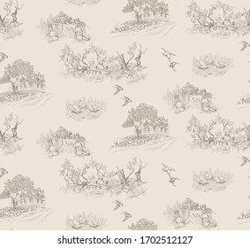 Pattern with landscapes with farm scenes with trees,country house, children in toile de jouy stile in beige color