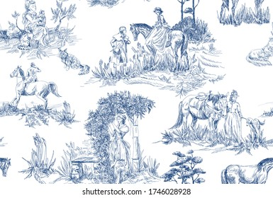 Pattern with landscapes with old , countryside and  people with horses, trees, woman with flowers in blue and white color in toile de jouy style