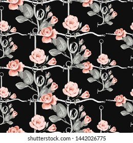 Pattern with leather belt cross rope pastel gray pink roses. Vintage floral sketch seamless pattern on black background. Flowers on belts, nature and art. Baroque fabric design.
