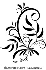pattern leaves curls decoration tattoo pattern vector