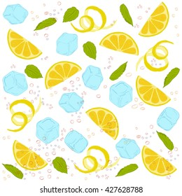 pattern lemonade, carbonated water, lemon slices, lemon peel, lemon peel, ice cubes, air bubbles, mint leaves