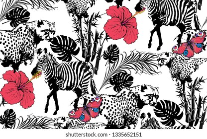 Pattern of  leopardand, butterfly. Suitable for fabric, wrapping paper and the like. Vector illustration