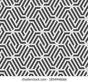 Muster mit hellen Streifen auf dunklem Hintergrund. Abstrakte monochrome geometrische Struktur. Stilvolles Vektordesign mit sich wiederholenden Polygonen und Streifen. Nahtlose Ornamente für Textilien, Gewebe und Umhüllungen.
