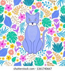 Pattern with lilac cat and tropical flowers and leaves on white background