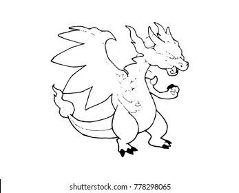 Pattern line of Dragon isolated on white background.