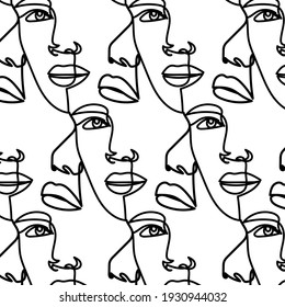 Pattern with linear faces hand drawn in one continuous line.