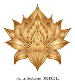Pattern with lotus flowers. Vector hand drawn illustration. Stylized