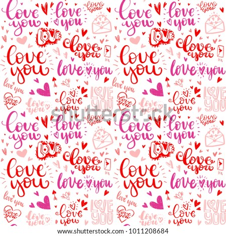 Pattern Love Hand Drawn Quotes Love Stock Vector Royalty Free Simple Pattern Quotes
