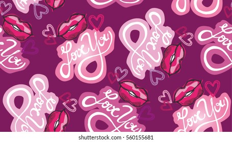 Pattern with 'love you' and lips, kiss.  hand lettering - handmade calligraphy; scalable and editable vector illustration;