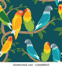 Pattern lovebird. various potition lovebird colorful. Set lovebird colorful.