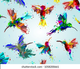 Pattern with Low poly colorful Hummingbird with rainbow back ground,animal geometric,party birds concept,Abstract vector.