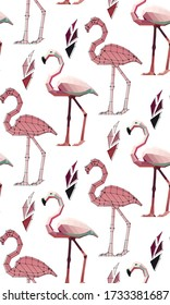 pattern of low poly flamingos with plants: flamingo with points, flamingo in colour , vector graphic  illustration on white background