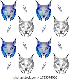 pattern of low poly lynx in cold tones and lynx with points , vector graphic  illustration on white background