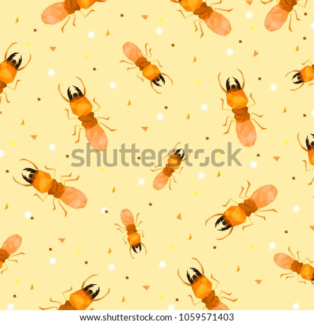 Pattern Low Poly Termite Soft Orange Stock Vector (Royalty