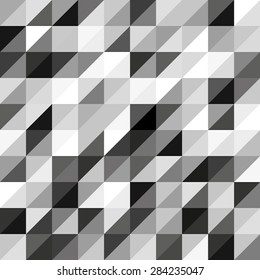 A pattern made up of triangles in squares from white to black polygonal figure. Vector illustration.