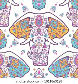 Pattern with mandala and elephant. Geometric circle element made in vector. For cards, background and sites. Kaleidoscope, medallion, yoga, India, arabic