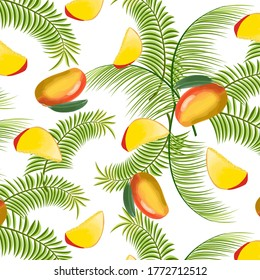 Pattern of mango and palm leaves.Mango and palm leaves in vector color pattern.