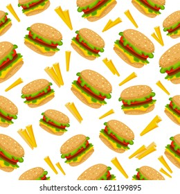 Pattern with many burgers and French fries.  Vector illustration isolated on white background.