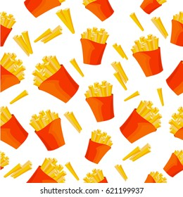 Pattern with many French fries.  Vector illustration isolated on white background.