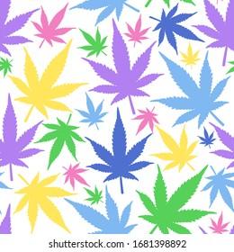 Pattern with marijuana leaf. Marijuana leaves seamless vector pattern. Cannabis seamless pattern.
