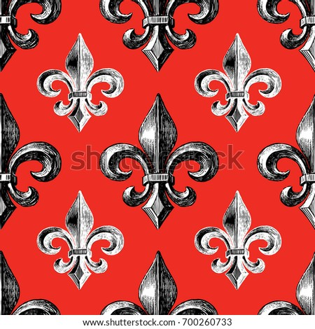Pattern Medieval Symbol French Lily Stock Vector Royalty Free