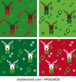 Pattern minimalist reindeer with various Christmas icons