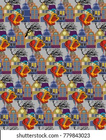 Pattern of minstrel and medieval town.