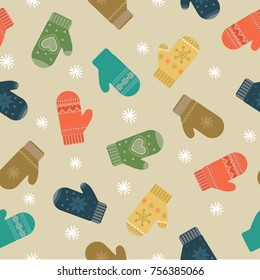 Pattern from mittens and snow. Winter background. Vector illustration.