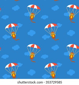 Pattern of monkeys in the sky with parachute